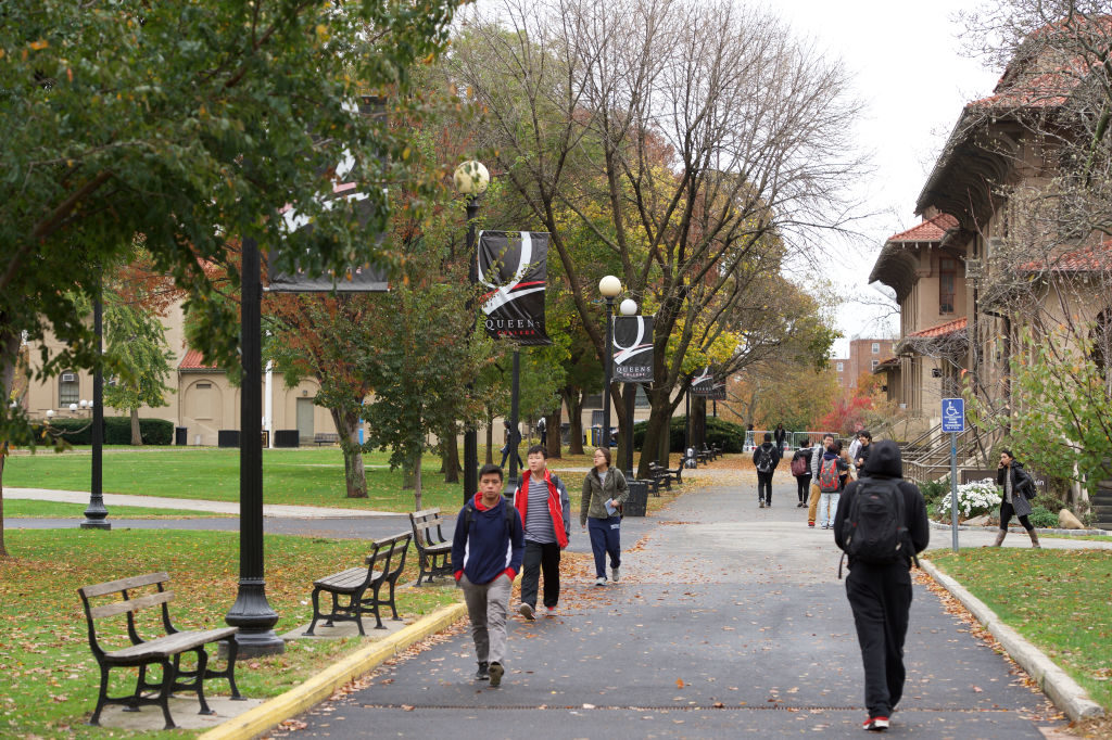 Students walk on the campus of Queens College Flushing, NY. (Jamie Schwaberow/NCAA Photos via Getty Images)